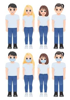 Zeichentrickfilm-figurmädchen und -junge im weißen hemd und in den blauen jeanslächeln. junge leute mit medizinischer maske stehen zusammen