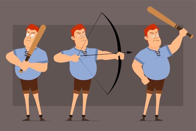 Zeichentrickfilm rotschopf fetten jungen charakter vektor-set