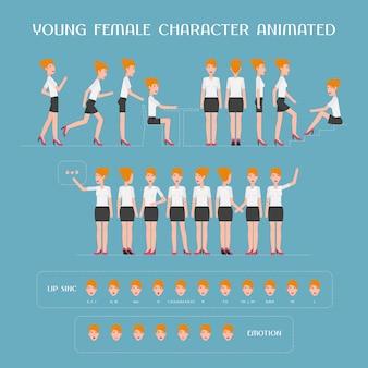 Zeichentrickfilm weiblicher charakteranimationssatz. konstruktorin der frau mit verschiedenen körperteilen, stehenden posen, gesichtsausdrücken