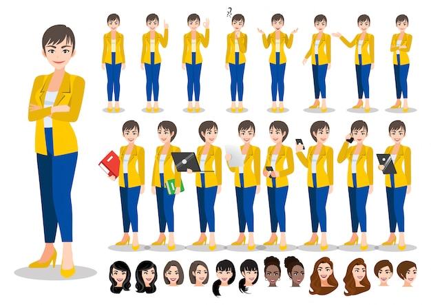Zeichentrickfilm-zeichensatz der geschäftsfrau. schöne geschäftsfrau im büroart-intelligenten anzug. illustration