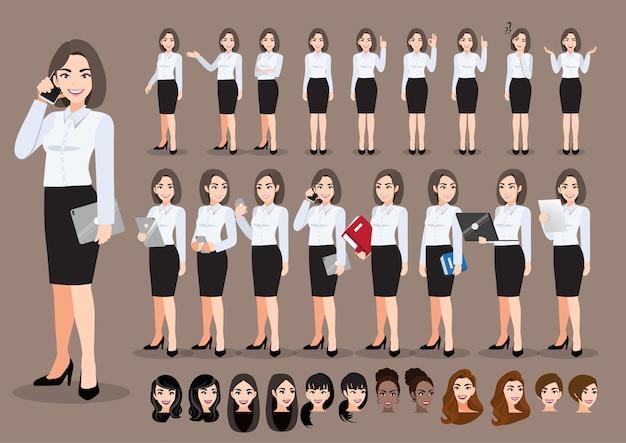 Zeichentrickfilm-zeichensatz der geschäftsfrau. schöne geschäftsfrau im büroartschattenhemd. illustration