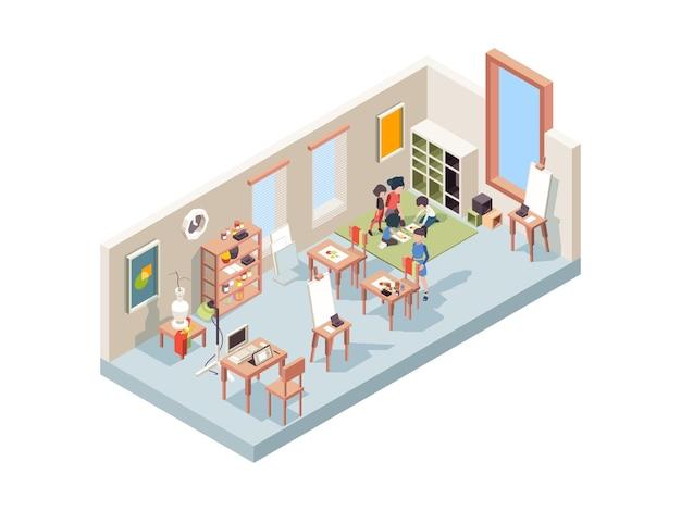 Zeichenunterricht. lehrer, der kleine künstler unterrichtet, die malerei-kinderarbeitsplatz mit staffelei- und segeltuchvektorisometrischem innenraum machen. staffelei und leinwand, zeichnungsbild hobbyillustration