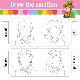 Zeichne die emotionen. arbeitsblatt vervollständigen das gesicht. malbuch für kinder. fröhlicher charakter.