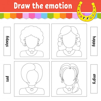 Zeichne die emotionen. arbeitsblatt vervollständigen das gesicht. malbuch für kinder.
