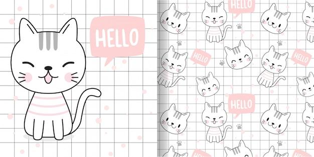 Zeichne eine glückliche katze. drucken sie nahtloses muster und grußkarte für stofftextilkinder.