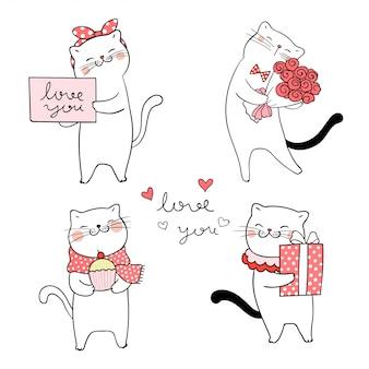Zeichne eine süße katze zum valentinstag.