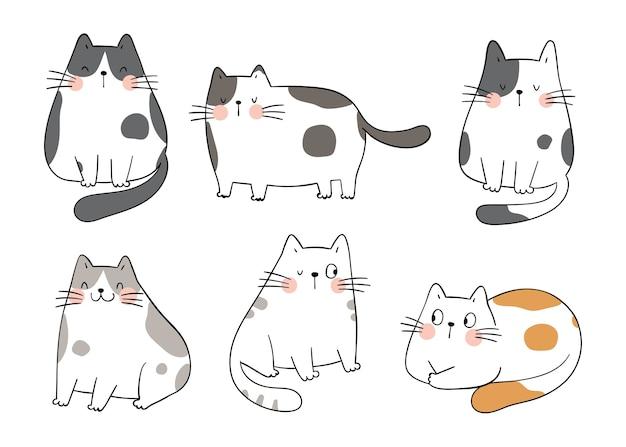 Zeichne entzückende katzen der sammlung