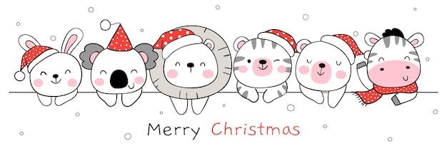 Zeichne fröhliche tiere zu weihnachten und winter