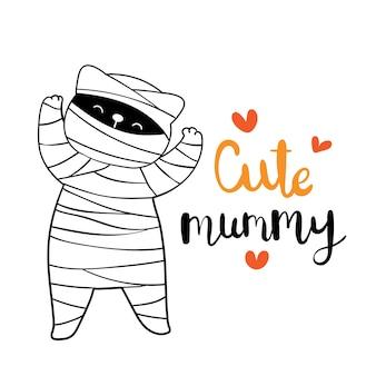 Zeichne mumienkatze für halloween-tag