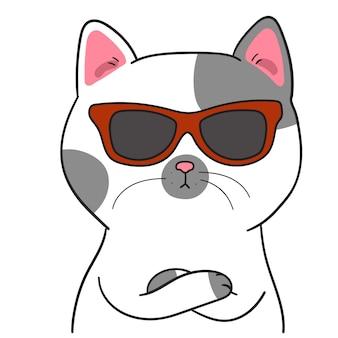 Zeichne niedliche katze mit sonnenbrille