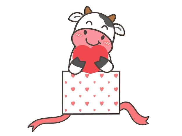 Zeichne niedliche kuh in liebe zum valentinstag