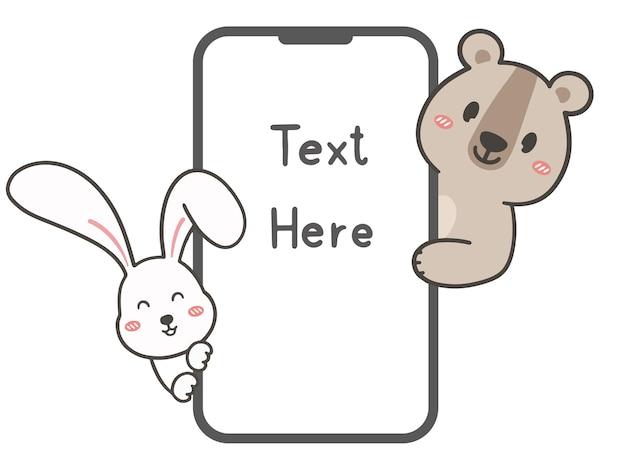 Zeichne niedliches kaninchen und bär mit smartphone