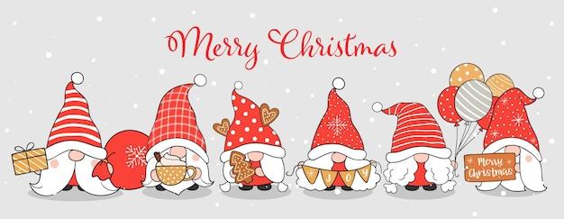 Zeichne schöne zwerge für weihnachten und winter