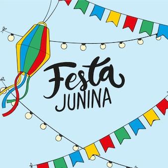 Zeichnen mit festa junina konzept