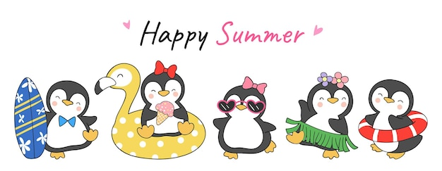 Zeichnen sie banner design niedlichen pinguin sommer