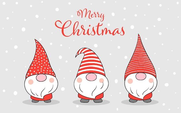 Zeichnen sie banner gnome in schnee für weihnachten