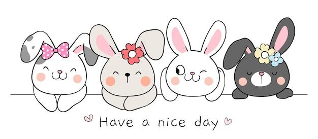 Zeichnen sie banner happy bunny für frühling und ostern