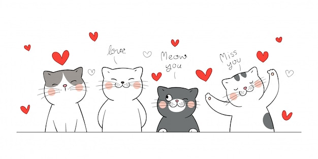 Zeichnen sie banner katze mit kleinen herzen zum valentinstag.