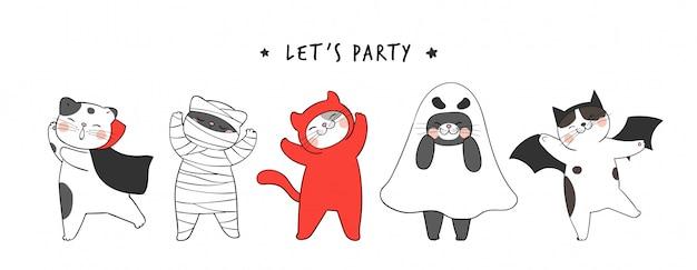 Zeichnen sie banner niedliche katze für halloween tag. gekritzel cartoon-stil.