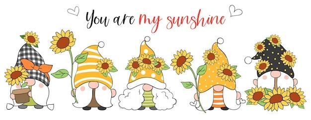 Zeichnen sie banner sonnenblumen gnom für frühling und sommer