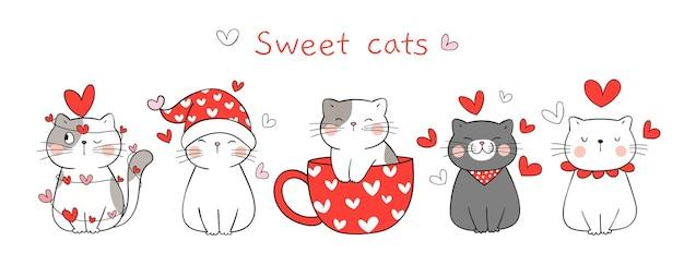 Zeichnen sie banner süße katze in der liebe zum valentinstag.