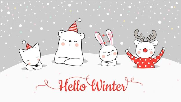 Zeichnen sie banner von niedlichen tier im schnee für weihnachten und neujahr.