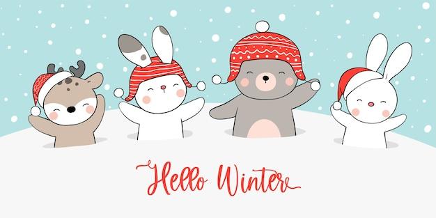 Zeichnen sie bannertiere im schnee für winter und weihnachten