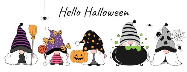 Zeichnen sie den lustigen gnom des banners für den halloween-tag
