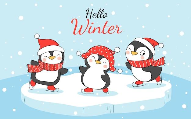 Zeichnen sie den lustigen pinguin der fahne im schnee für winter und weihnachten