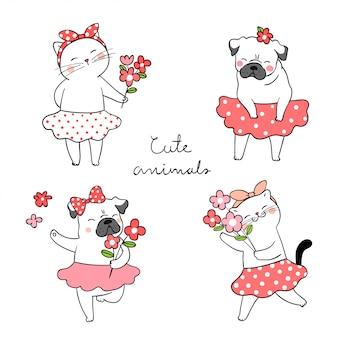 Zeichnen sie den netten katzen- und pughund, der blume frühlingskonzept hält.