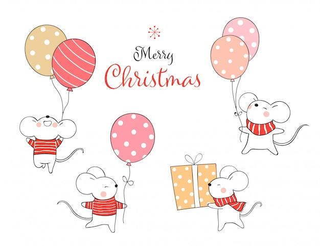 Zeichnen sie die gesetzte ratte, die ballon für weihnachten und neues jahr hält.