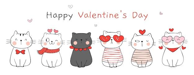 Zeichnen sie die glückliche liebe der niedlichen katze zum valentinstag