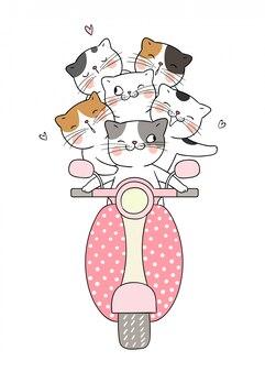 Zeichnen sie die katze, die den roller fährt, der so lustig ist.