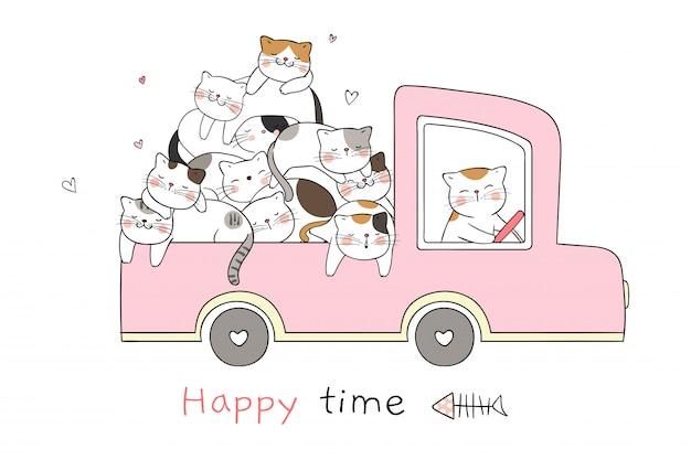 Zeichnen sie die katze, die im rosa pastellauto schläft, das so glücklich ist.