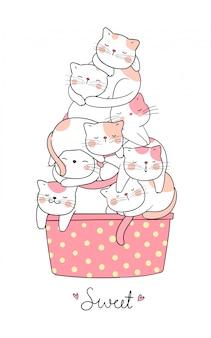 Zeichnen sie die katze, die in der schale süßem pastell der eiscreme schläft.