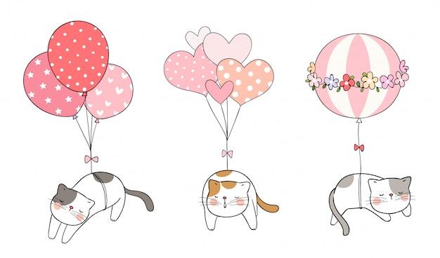 Zeichnen sie die katze, die mit süßem ballon schläft
