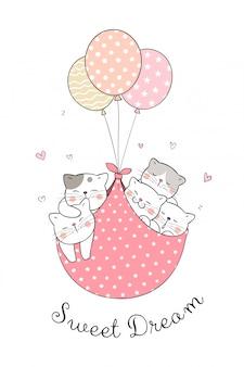 Zeichnen sie die katze, die mit süßem ballon schläft.