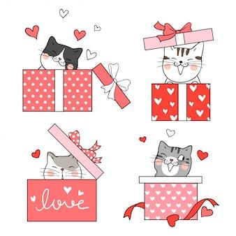 Zeichnen sie die katze in der geschenkbox zum valentinstag