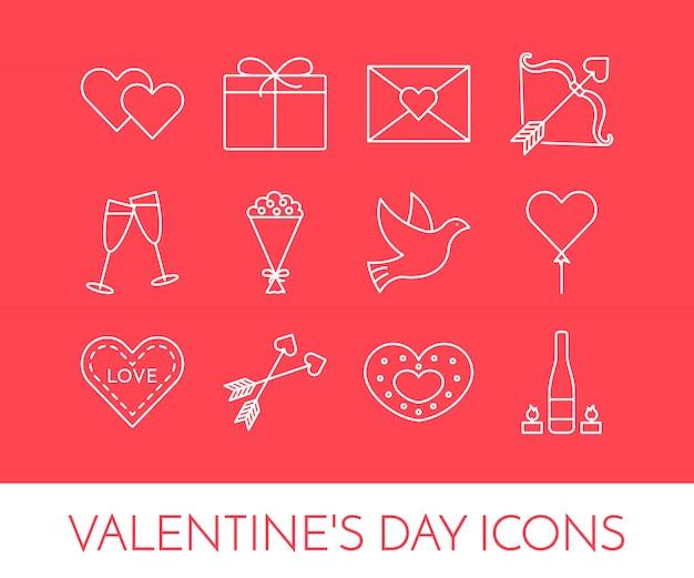 Zeichnen sie dünne symbole für das thema valentinstag und datum.