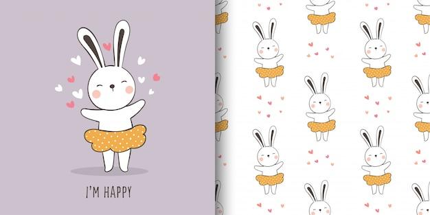 Zeichnen sie eine grußkarte und drucken sie das muster eines niedlichen kaninchens.