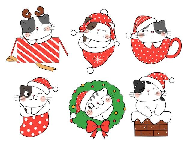 Zeichnen sie eine sammlung süßer katzen für weihnachten und neujahr