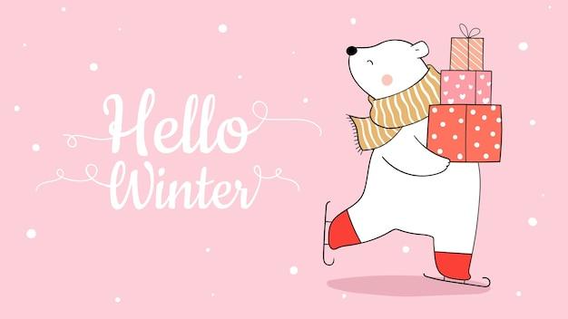 Zeichnen sie eisbär im schnee, der geschenkbox für winter hält