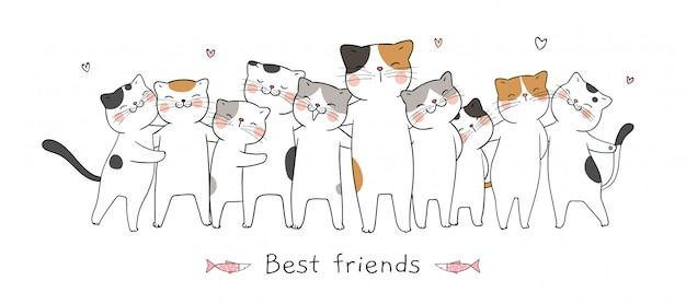 Zeichnen sie fahnenkatzenumarmung mit besten freunden der liebe und des wortes.