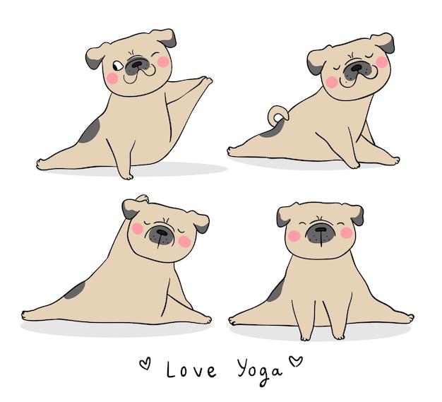 Zeichnen sie gesetzten lustigen mopshund, der yoga spielt