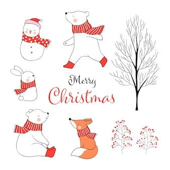 Zeichnen sie gesetztes tier für weihnachtstag im winter und im neuen jahr.