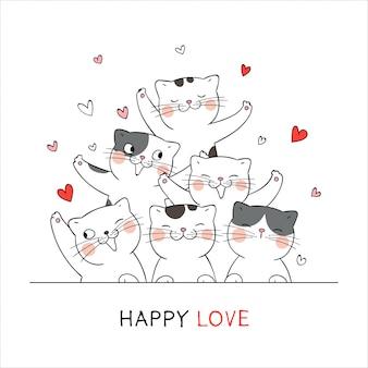 Zeichnen sie glückliche katze mit wenigem herzen für valentinstag-liebeskonzept.