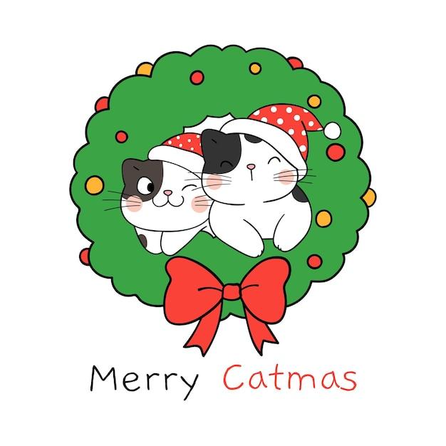 Zeichnen sie glückliche katzen mit weihnachtskranz für winter und neujahr
