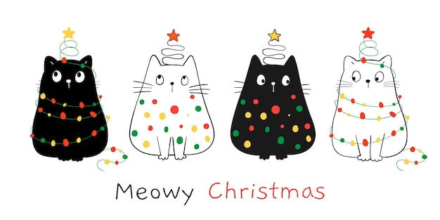 Zeichnen sie glückliche katzen mit weihnachtslicht. für winter und neujahr.
