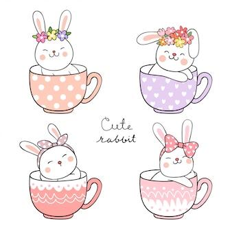 Zeichnen sie glückliches kaninchen mit blume auf dem kopf, der in der tasse tee schläft