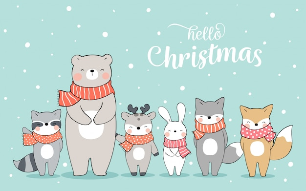 Zeichnen sie glückliches tier, das im schnee für weihnachten steht.